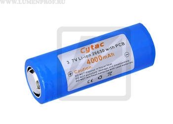 Аккумулятор Li-ion Cytac 26650 3.7V 4000mAh, с защитой